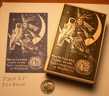 "P5Witch with owl on moon rubber stamp 3.8x2.5"" WM"