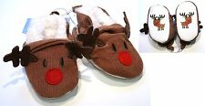 BABY BOYS / GIRLS UNISEX SLIP ON CHRISTMAS RUDOLPH REINDEER SHOES 3-6 MONTHS