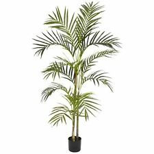 Decorative Natural Looking Artificial Potted 4' Areca Palm Silk Tree Plants Faux