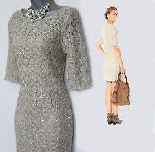 MONSOON Neutral Julia Sequin CROCHET Knit 3/4 Sleeves Evening Dress UK 8  £89