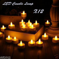 12pc LED Tea Light Candles Realistic Battery-Powered Flameless Wedding Decor