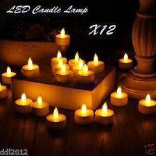 12pc LED Tea Light Candles Realistic Battery-Powered Flameless Wedding Decor