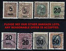 ICELAND 1921-25 O/PRINTS SC#130-08 USED VF CV.$218.00