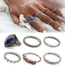 6pcs Lot Midi Ring Boho Beach Vintage Tibetan Silver Rings Women Jewelry Gift