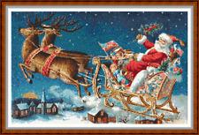 """""""Santa Trineo Ride puntada cruzada 'Gráfico (15 3/4"""" x10"""") Navidad/Navidad/Reno Nuevo"""
