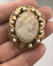 Vintage Florenza Cameo Faux Pearls Brooch Pin Pendant