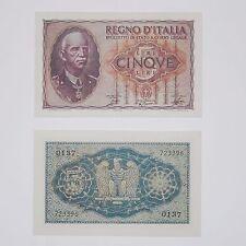 RIPRODUZIONE 5 LIRE IMPERIALE REGNO D'ITALIA COLLEZIONE FDS UNC MONEY COLLECTION
