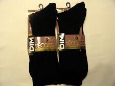 Lot 4 paires de mi-chaussettes DIM Fil d'Ecosse Noir cotelées DIM T39/42