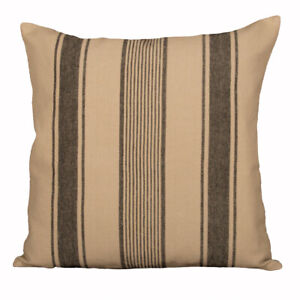 """Up Country Grain Sack Stripe Oat and Black 18"""" x 18"""" Pillow Cover by Raghu"""