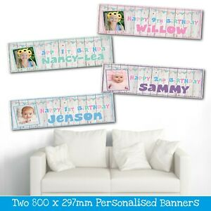2 PERSONALISED BUNTING PHOTO BIRTHDAY BANNERS - AVAILABLE IN 4 COLOURS