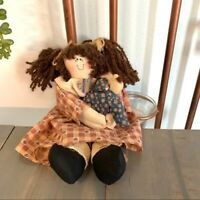 Rustic Cottagecore Fabric Doll and Baby