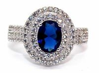 Sterling Silver Blue Sapphire And Diamond 2ct Double Cluster Ring (925)