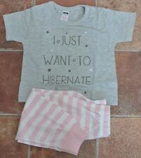 New Little girls 100% cotton short sleeve pajamas pink/grey/white 12-18 mnths