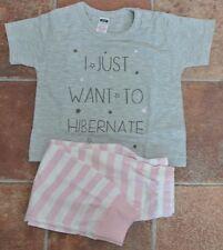 New Little girls 100% cotton short sleeve pajamas pink/grey/white 18-24 mnths