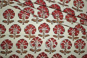 Beige 100% Cotton Ikat Batik Hand Block Printed Dress Material Craft Fabric