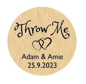120x Personalised Confetti Wedding Throw Me Stickers #4013