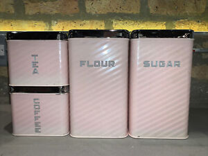 VINTAGE PINK LINCOLN BEAUTYWARE METAL STACKING CANISTER SET