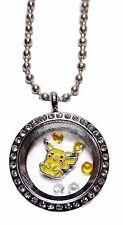 Pokemon Pikachu Round Crystal Floating Charms Locket Necklace