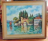 Signed Carlos Original Oil Painting ITALY LAKE COMO Framed 24.5 by 28.5