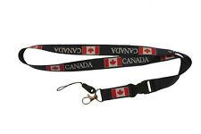 CANADA BLACK COUNTRY FLAG LANYARD KEYCHAIN PASSHOLDER ..  NEW