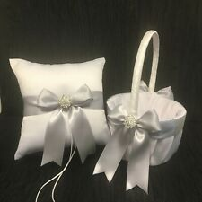 Silver Bow with Rhinestone Crystal Ring Bearer Pillow and/or Flower Girl Basket