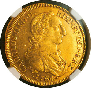 """1764, Colombia, Charles III. Gold 8 Escudos Coin. """"Rat Face Bust!"""" NGC XF-45!"""