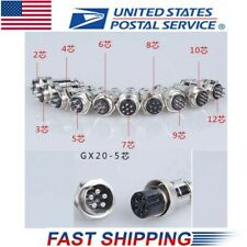 2set GX20-5 5Pin 20mm Aviation Plug Male & Female Wire Panel Metal Connector