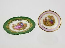 2 x Limoges Hand Painted Small Miniature Plates