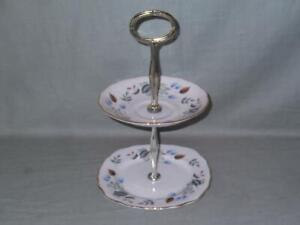 Colclough Linden Small 2-Tier Biscuit Cake Plate Stand Patt. No.8162