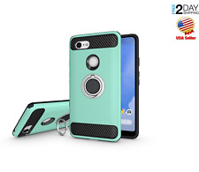 Google Pixel 3 XL Case Dual Layer Ring Holder Magnetic Car Mount Green Cover