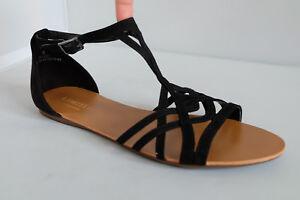 M&S Ladies Sandals in Black Suede Effect Upper UK 6