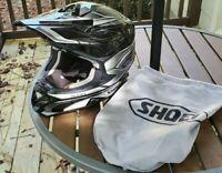 Nice used Shoei VFX Motocross Helmet Adult Small Black White 55cm 56cm 6 7/8 7