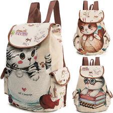 Women Cute Cartoon Cat Backpack Large Student Canvas Travel Bag College Rucksack
