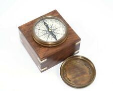 Marine Compass with Nautical Solid Wooden Box Vintage Brass Ship Navigate Device