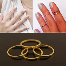 Gold Plated Knuckle Womens Stackable Rings Midi Band Finger SET of 6 Size M L