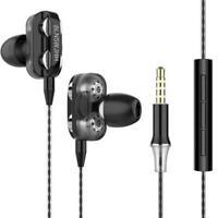 Wired Dual Drive Earphone Headphones Earphones Music Stereo Headset Bass T9E3
