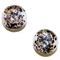 G4276 White Brown & Bronze Sparkle 21mm Flat Round Blown Lampwork Glass Bead 2pc