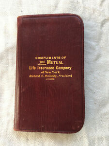Vintage Souvenir Notebook Compliments of The Mutual Life Insurance Co.New York