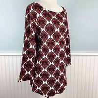 Size 1X Charter Club 100% Pima Cotton Paisley Top Blouse Shirt Women's Plus NWT