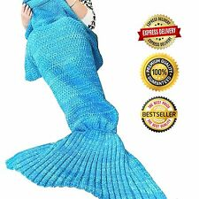 Super Soft Fluffy Hand Crocheted Mermaid Tail Blanket Sleeping Bag Gift Adult