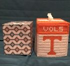 Handmade Needlepoint Plastic Canvas Tissue Box Cover Tennessee College Vols