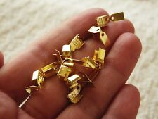 50 Fold Over Flat Cord End Crimp Cap 4mm Leather Ribbon Necklace Clasp Gold Tone
