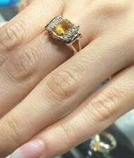 GOLD solid real 14k Ring Yellow simulated topaz diamond 4g Size 7 5 6 8 9