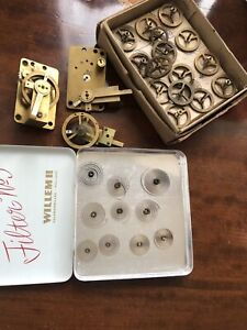Really Useful Lot Of Vintage Clock Hair Springs And Balance Wheels