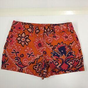 "Ann Taylor LOFT Sz 0 Marisa Linen Blend Shorts Orange Pink Blue Floral 4"" Inseam"