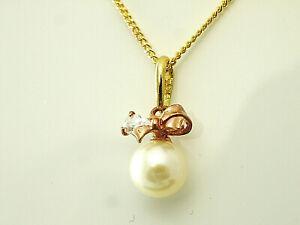 333 Gold kleiner Perlen Anhänger mit Goldkkette  13 x 6 mm mit Zirkonia Steinen