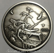 2016 Silverbug Island #3 MERMAID 1oz Silver Proof ANTIQUED ~ 2k ~ REDDIT
