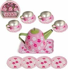 IQ Toys Tin Tea Set and Carry Case for Little Girls Pretend Tea Party