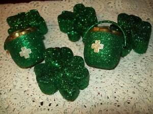 NEW SET OF 6 GREEN GLITTER ORNAMENTS SHAMROCK CLOVER POT OF GOLD ST PATRICKS DAY