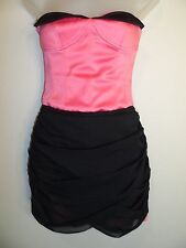 bebe XS Dress Black Bright Hot Pink Corset Ruched Wedding Cocktail Party Mini